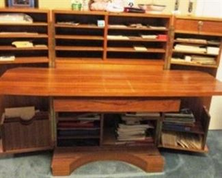 Unusual opened cabinet secretary/desk.