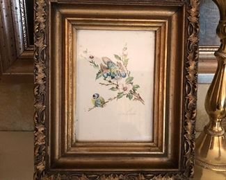 Small Antique paintings of birds in Gold Guild frames