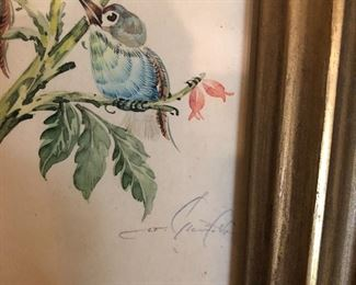Small Antique paintings of birds in Gold Guild frames each individually signed in pencil