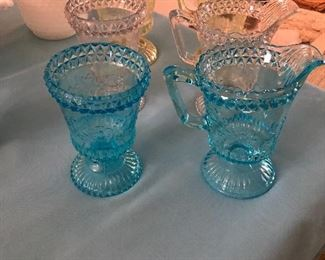 Blue and Pink depression glass Cream and Sugars