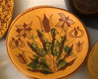 Turtle Creek Potters, Redware Folkart Plate Made By Sandy Downing, Morrow Ohio