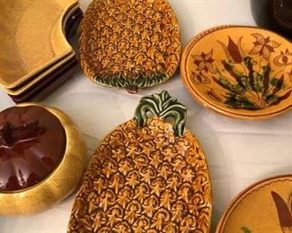 Vintage Pineapple shaped pottery platters #tikibar dishes