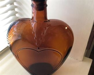 Vintage Paul Masson brown glass heart decanter