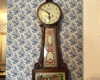 New England Clock Co. Banjo Clock Reverse painted with Beleden Residence of W. K. Sessions