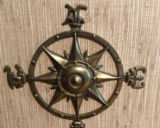 Vintage Antique Brass Compass Wall Hanging