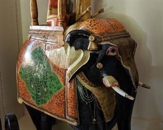 """Folk Art Sculpture.  Very large figurine of Indian elephant  with wedding couple seated in Howdah on elephant's back. Their driver sits in front. This sculpture is over 30""""  tall!"""
