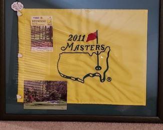 Framed 2011 Master's pin flag