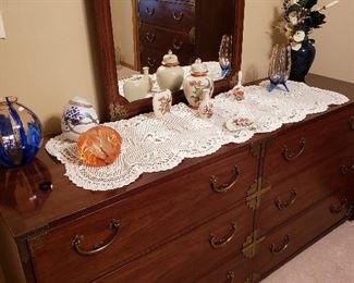 Beautiful antique queen three-piece bedroom set, mirrored dresser shown