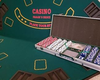 Folding poker table top and professional chip set