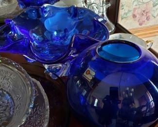 Blenko and other cobalt glass pieces