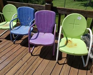Four MSM metal patio chairs