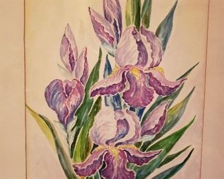 Iris watercolor by Lindsborg artist Alba Malm, circa 1920
