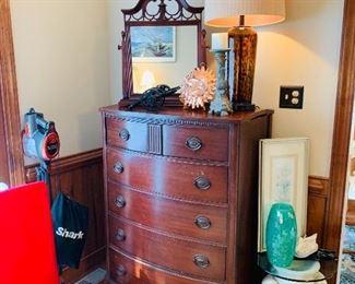 Mahogany Dresser, Antique Shaving Mirror