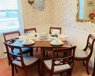 Drop Leaf Table, 6 Chairs