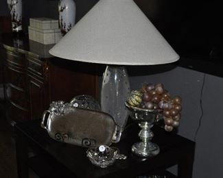 """Wonderful home decor including a vintage 27"""" glass bubble table lamp, Mudpie hammered tray, vintage silver overlay dish and cut crystal rose bowl"""