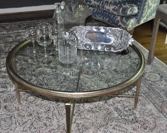 """Antiqued painted silver wood and glass coffee table, 31""""round, x 19""""h, shown with a gorgeous 5"""" Baccarat Ice Bucket, wine goblets, Susan Stocking aluminum tray and a large mid century swirl glass vase!!"""
