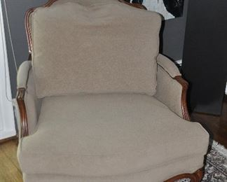 """Gorgeous taupe suede Ethan Allen arm chair with loose cushion back, 33""""w x 34'h x 37""""d"""
