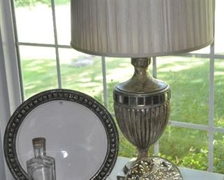 Spectacular John-Richard antiqued silver table lamp with pleated silk shade shown with 8 Crate and Barrel appetizer plates, and a large white and hammered silver serving bowl