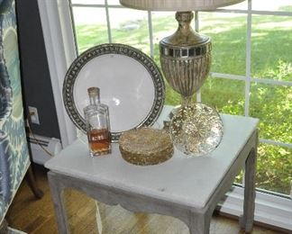 """Fantastic painted grey wood and white stone top side table from Jones Kenna, 26""""w x 24""""h x 26""""d"""