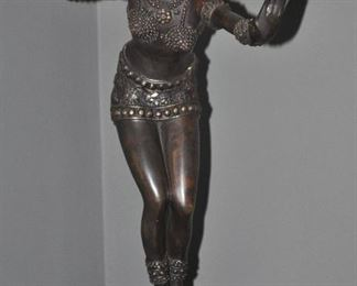 """One of the two amazing bronze Art Deco woman sculptures available, c. 1930, 22""""h x 19""""w"""