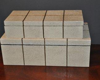 Wonderful beige shagreen decorative boxes