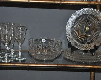 More etched vintage stemware, crystal bowl and divided depression glass plates