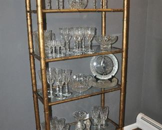 """Antiqued brass metal bamboo style vintage etagere  with 6 glass shelves, 30""""w x 70""""h x 14.5""""d"""