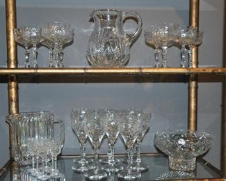 Stunning vintage etched crystal stemware and cut glass serving bowls