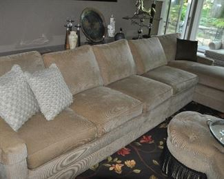 """Amazing 3 piece beige Ethan Allen sectional with chaise, overall: 11'x 58""""d x 28.5""""h"""