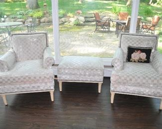 Spectacular cream colored Schmacher Lounge Chairs, one with ottoman