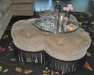 """Matching beige Ethan Allen tufted ottoman with 9"""" black fringe, 42""""w x 17""""h x 42""""d"""