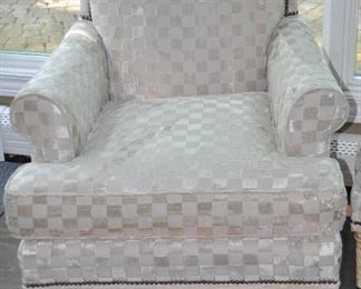 """Absolutely gorgeous cream colored chenille Schumacher upholstery with nail head trim and swirl legs, 30.5""""w x 34""""h x 35""""d"""