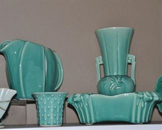 Wonderful turquoise McCoy pottery collection!