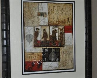 """Asian themed lithograph, 32.5""""w x 39""""h"""