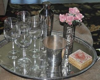 Wonderful large silver tray shown with great bar ware!