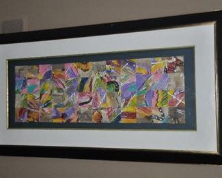 """Mixed media framed art, 52""""w x 26""""h"""