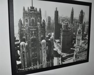 """Fun black and white framed large print, """"View to Grand Avenue"""", 54""""w x 43""""h"""
