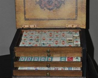 Amazing antique Mah Jong set in a carved and painted 4 drawer box