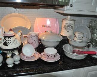 Great grey Fiestaware, Fortnum Mason ceramic pieces, Baby Cakes cupcake maker and Hot Chocolate set!