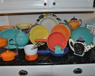 Fun Homer Laughlin Fiestaware and other colorful china and teapots including Droll Designs!