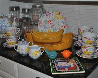 Soleil Porta made in Portugal, coffee and dessert set shown with Rachel Ray casserole dishes and glass canisters