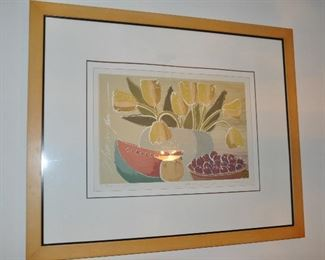 """""""Tulips and Watermelon""""serigraph-by Ronald David Thompson, artist proof with seal, 44"""" x 36"""""""