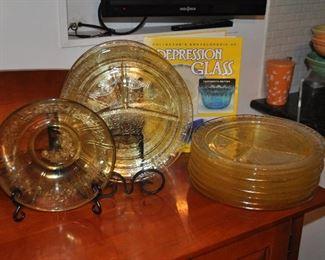 Set of 12 divided depression glass plates