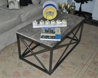 """Great distressed wood on metal base coffee table, 41""""w x 19""""h x 23""""d. Shown with a wonderful hand made Aubusson area rug, 6'x 9'"""