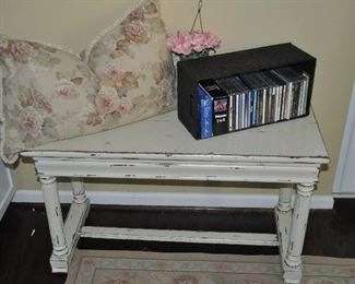 """Great shabby chic painted piano bench, 36""""w x 21""""h x 15""""d"""