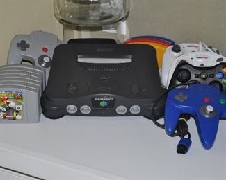 Nintendo 64 console, games and many controls available