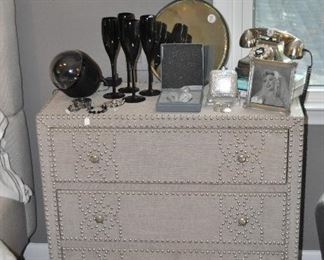"""Cream colored wrapped fabric linen 3 drawer chest with silver nailhead design from Pier 1. Each measure 31.5""""w x 31.5""""h x 15"""" d"""