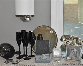 Retro telephone from Pottery barn (several available), antique round mirror/tray, champagne glasses, jewelry and more!