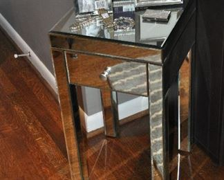"""Up close view of the petite mirrored side table, each are 14""""w x 25.5""""h x 14""""d"""