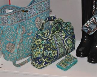 Hunter rain boots shown with Vera Bradley quilted items